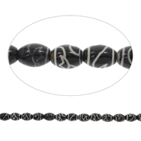 Tibetan Agate Beads, Oval, black, 12x16mm, Hole:Approx 1.5mm, Length:Approx 14 Inch, 5Strands/Bag, Approx 22PCs/Strand, Sold By Bag