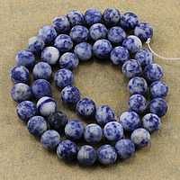 Natural Blue Spot Stone Beads, Round, different size for choice & frosted, Hole:Approx 1-2mm, Length:Approx 15.5 Inch, Sold By Lot