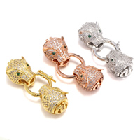 Brass Snap Clasp, Leopard, plated, micro pave cubic zirconia, more colors for choice, lead & cadmium free, 40x13x12mm, Hole:Approx 1x3mm, 5PCs/Bag, Sold By Bag