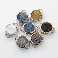 Природного кварца Разъем, Латунь, с Ледниковый кварц-агат, Плоская круглая форма, Другое покрытие, природный & druzy стиль & 1/1 петля, Много цветов для выбора, не содержит никель, свинец, 21x15.50x6mm, отверстие:Приблизительно 3.5x1mm, 10ПК/Лот, продается Лот