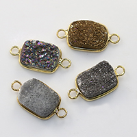 Природного кварца Разъем, Латунь, с Ледниковый кварц-агат, Прямоугольная форма, плакирован золотом, природный & druzy стиль & 1/1 петля, Много цветов для выбора, не содержит никель, свинец, 23-26x12-14x5-8mm, отверстие:Приблизительно 2mm, 10ПК/Лот, продается Лот