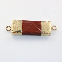 Agate Connector, Brass, with Ice Quartz Agate, Rectangle, gold color plated, natural & 1/1 loop, nickel, lead & cadmium free, 47x14x5.50mm, Hole:Approx 3mm, 10PCs/Lot, Sold By Lot