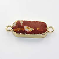 Agate Connector, Brass, with Ice Quartz Agate, Rectangle, gold color plated, natural & 1/1 loop, nickel, lead & cadmium free, 35x12x5mm, Hole:Approx 2.5mm, 10PCs/Lot, Sold By Lot