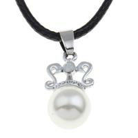шнур ожерелье, цинковый сплав, с ABS пластик жемчужина & Искусственная кожа, с 5cm наполнитель цепи, плакированный цветом под старое серебро, со стразами, не содержит свинец и кадмий, 13x25x12mm, Продан через Приблизительно 17 дюймовый Strand