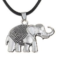 шнур ожерелье, цинковый сплав, с Искусственная кожа, с 5cm наполнитель цепи, Слон, плакированный цветом под старое серебро, не содержит свинец и кадмий, 38x28x4mm, Продан через Приблизительно 17 дюймовый Strand