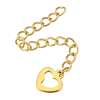 Stainless Steel Extender Chain, Heart, gold color plated, 9x10x1mm, 3x4mm, Length:Approx 2 Inch, 200Strands/Lot, Sold By Lot