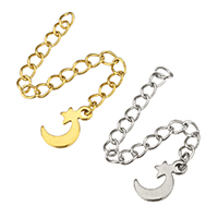 Stainless Steel Extender Chain, Moon and Star, plated, more colors for choice, 7x11x1mm, 3x4mm, Length:Approx 2.5 Inch, 200Strands/Lot, Sold By Lot