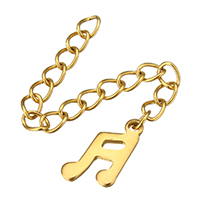 Stainless Steel Extender Chain, Music Note, gold color plated, 7.5x12x1mm, 3x4mm, Length:Approx 2 Inch, 200Strands/Lot, Sold By Lot
