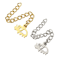 Stainless Steel Extender Chain, Elephant, plated, more colors for choice, 11x9x1mm, 3x4mm, Length:Approx 2 Inch, 200Strands/Lot, Sold By Lot