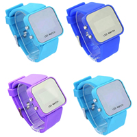 LED Light Watch, Silicone, with Glass, zinc alloy buckle, platinum color plated, adjustable, more colors for choice, Length:Approx 8 Inch, Sold By PC