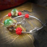 фарфор Серьги-кольца, с Нейлоновый шнурок, железо крюк, Круглая, трещащий, 8-10mm, продается Пара