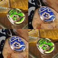 Porcelain Pendants, Zinc Alloy, with Porcelain, platinum color plated, with rhinestone & crackle, more colors for choice, lead & cadmium free, 20-35mm, Hole:Approx 1-3mm, Sold By PC