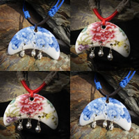 Porcelain Pendants, with iron bell, Moon, hand drawing, more colors for choice, 20-40mm, Hole:Approx 1-3mm, Sold By PC
