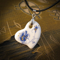 Porcelain Pendants, with iron bail, Heart, hand drawing, 15-20mm, Hole:Approx 1-3mm, Sold By PC