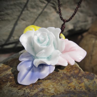 Porcelain Pendants, Flower, hand drawing, 20-25mm, Hole:Approx 1-3mm, Sold By PC