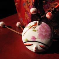 Фарфор Кулоны, фарфор, Плоская круглая форма, рука рисунок., 20-25mm, отверстие:Приблизительно 1-3mm, продается PC