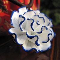 Porcelain Pendants, Flower, hand drawing, 15-30mm, Hole:Approx 1-3mm, Sold By PC