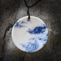 Porcelain Pendants, Flat Round, hand drawing, 47mm, Hole:Approx 1-3mm, Sold By PC
