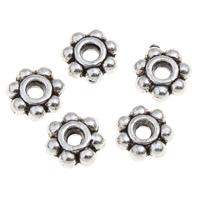 Zinc Alloy Spacer Beads Flower antique silver color plated lead   cadmium free 5x2mm Hole:Approx 1mm 100G/Bag