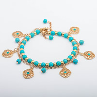 Zinc Alloy Bracelet with iron chain   Turquoise Round gold color plated 2-strand lead   cadmium free 260mm Sold Per Approx 10 Inch Strand