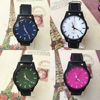Unisex Wrist Watch, PU, with zinc alloy dial & Glass, stainless steel pin buckle, painted, adjustable, more colors for choice, 32x8mm, Length:Approx 9.5 Inch, Sold By PC