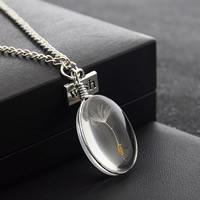 Стеклянный глобус ожерелье, с цинковый сплав, Плоская овальная форма, слово желание, плакированный цветом под старое серебро, с Семена одуванчика & твист овал, не содержит никель, свинец, 24x17mm, Продан через Приблизительно 23.6 дюймовый Strand