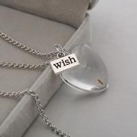 Стеклянный глобус ожерелье, с цинковый сплав, Сердце, слово желание, плакированный цветом под старое серебро, с Семена одуванчика & твист овал, не содержит никель, свинец, 25mm, Продан через Приблизительно 23.6 дюймовый Strand