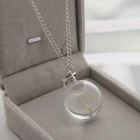 Стеклянный глобус ожерелье, с цинковый сплав, Круглая, слово желание, плакированный цветом под старое серебро, с Семена одуванчика & твист овал, не содержит никель, свинец, 25x25mm, Продан через Приблизительно 23.6 дюймовый Strand