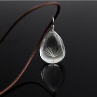 Стеклянный глобус ожерелье, с Вощеная хлопок шнур & цинковый сплав, с 2.7 lnch наполнитель цепи, Каплевидная форма, Платиновое покрытие платиновым цвет, с Семена одуванчика, Много цветов для выбора, не содержит никель, свинец, 25x18mm, Продан через Приблизительно 17.7 дюймовый Strand