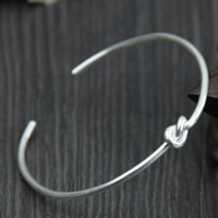 925 Sterling Silver Cuff Bangle, 2.2mm, Inner Diameter:Approx 50mm, Length:Approx 6 Inch, Sold By PC