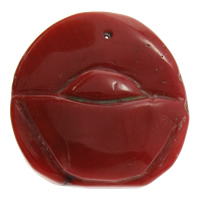 Коралловые подвески, Натуральный коралл, натуральный, гравированный, красный, 28x28x7mm, отверстие:Приблизительно 1mm, продается PC