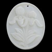 Коралловые подвески, Натуральный коралл, Плоская овальная форма, натуральный, гравированный, белый, 29x39x3mm, отверстие:Приблизительно 1mm, продается PC