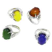 Agate Finger Ring Brass with Agate Flat Oval platinum color plated different materials for choice   adjustable nickel lead   cadmium free 19x25x17mm US Ring Size:7 5PCs/Bag