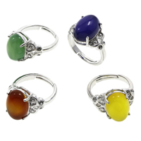 Agate Finger Ring Brass with Agate Flat Oval platinum color plated different materials for choice   adjustable   with rhinestone nickel lead   cadmium free 20x26x14mm US Ring Size:7 5PCs/Bag