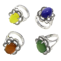 Agate Finger Ring Brass with Agate Flower antique silver color plated different materials for choice   adjustable   micro pave cubic zirconia nickel lead   cadmium free 19x28x21mm US Ring Size:7 5PCs/Bag