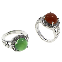Agate Finger Ring Brass with Agate Flat Round antique silver color plated different materials for choice   adjustable   micro pave cubic zirconia nickel lead   cadmium free 20x25x14mm US Ring Size:7 5PCs/Bag