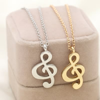 Zinc Alloy Jewelry Necklace, with iron chain, with 5cm extender chain, Music Note, plated, oval chain, more colors for choice, lead & cadmium free, 28x15mm, Sold Per Approx 17.5 Inch Strand