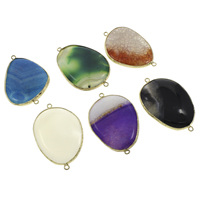 Agate Connector, with Brass, gold color plated, dyed & different materials for choice & 1/1 loop, 33x52x6mm-36x58x10mm, Hole:Approx 2mm, 5PCs/Bag, Sold By Bag