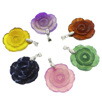 Lace Agate Pendants, with brass bail, Flower, platinum color plated, dyed, more colors for choice, 36x5mm-36x8mm, Hole:Approx 4x5mm, Sold By PC