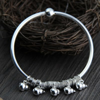Sterling Silver Bracelet & Bangle, 925 Sterling Silver, Calabash, 3mm, Inner Diameter:Approx 55mm, Length:Approx 6.5 Inch, Sold By PC