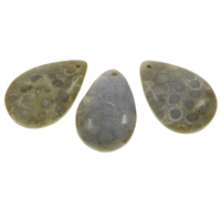 Chrysanthemum Stone Pendant, Teardrop, natural, 23x35x27mm-25x38x9mm, Hole:Approx 1.5mm, 5PCs/Bag, Sold By Bag