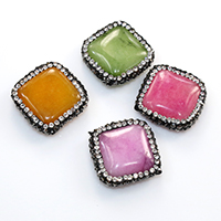 Dyed Jade Beads with Rhinestone Clay Pave Rhombus 20.50x6mm Hole:Approx 0.5mm 20PCs/Lot