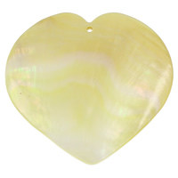 Natural Yellow Shell Pendants Heart 50x2mm Hole:Approx 1mm