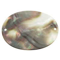 Black Shell Connector, Flat Oval, natural, 1/1 loop, 40x30x1.50mm, Hole:Approx 1mm, Sold By PC