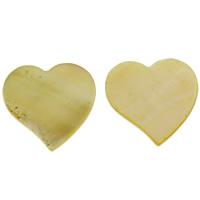 Желтая ракушка кабошон, Сердце, натуральный, плоской задней панелью, 20x2mm, продается PC