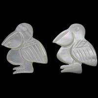 Белая ракушка кабошон, Птица, натуральный, плоской задней панелью, 17x19x2mm, продается PC