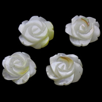 Белая ракушка кабошон, Форма цветка, натуральный, плоской задней панелью, 18x5mm, продается PC
