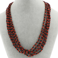 Natural Coral Necklace with Crystal brass spring ring clasp 5-strand   faceted 4.5mm Sold Per Approx 19.5 Inch Strand