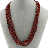 Natural Coral Necklace with Crystal brass spring ring clasp 5-strand   faceted 8x4mm Sold Per Approx 18 Inch Strand