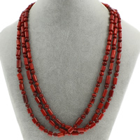 Natural Coral Necklace brass spring ring clasp 3-strand 7x5mm-12x5mm Sold Per Approx 19.5 Inch Strand